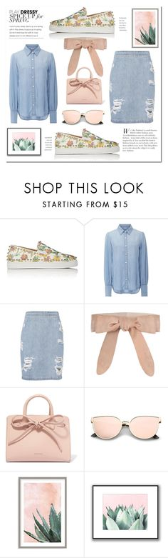 """Denim/Cactus/Sneaker"" by mandiek-2 ❤ liked on Polyvore featuring Christian Louboutin, Frame, IRO, Zimmermann, Mansur Gavriel and Art Addiction"