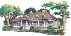 Greek Revival House Plan with 3296 Square Feet and 4 Bedrooms from Dream Home Source | House Plan Code DHSW45269