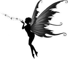A Fairys Kiss Tattoo: Fairy Silhouette Art by Julie Fain Kiss Tattoos, Body Art Tattoos, I Tattoo, Cool Tattoos, Tatoos, Pixie Tattoo, Wrist Tattoo, Ankle Tattoo, Mini Tatoo