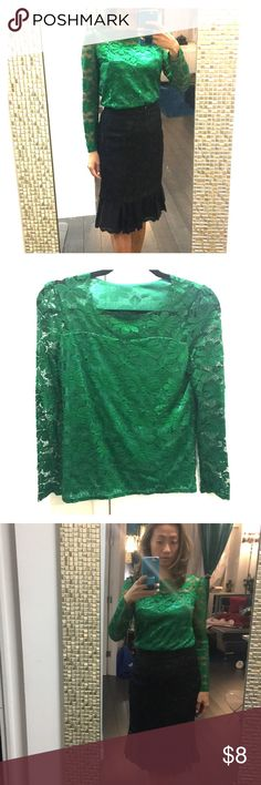 """Green lace holiday top Lace shirt lined about 3"""" below the neckline. Very modest and ideal for holiday wear. Makes a skirt or plants extremely elegant. Color is an emerald green. No tags in the shirt. none Tops Blouses"""