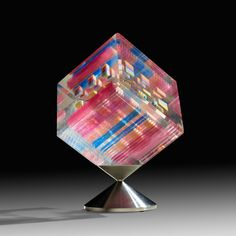 JON KUHN, Rainbow Cube | Ragoarts.com Laminated Glass, Modern Glass, Cube, Modern Design, Auction, Rainbow, Cool Stuff, Stainless Steel, Rain Bow