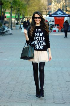 cute winter skirt look oversized sweater with tulle skirt