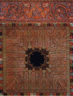 """Kashmiry Shawls  Antique Kashmiri Shawl, This is the only  known Kashmiri Shawl with a  Dragon Design. Dragons appear in  the borders  and in the  Central Medallion. Early 19th Century   Size 79"""" x 79"""" Size 200 x 200cm"""