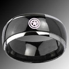 captain american wedding  ring | 8mm Titanium Captain America Black IP Dome Silver Edges Ring Sz 12 ...
