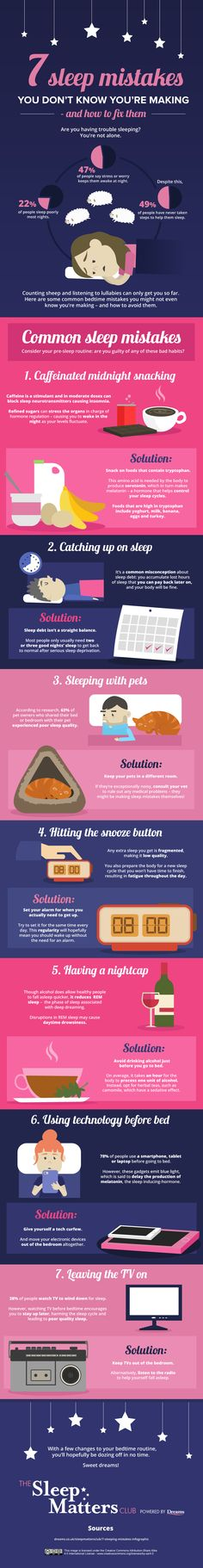 7 Sleep Mistakes You Don't Know You're Making - And How To Fix Them. #infographic