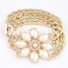 Top Rated White Lucky Flower Decorated Multilayer Metal Chain Design Alloy Korean #Fashion #Bracelet  www.asujewelry.com