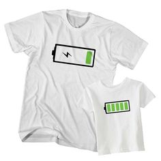 Dad and Son T-Shirt Low Battery Full Battery printed and designed by Clotee.com Available in many sizes and colors. Shop now get 35% off for new customers.