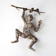 Climbing man sculpture on tree branch - wire mesh - hang man sculpture - Metal art - home decor