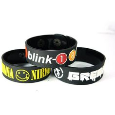 Nirvana And Green Day And Blink-182 New 3Pcs(3X) Bracelet Wristband... ($12) ❤ liked on Polyvore