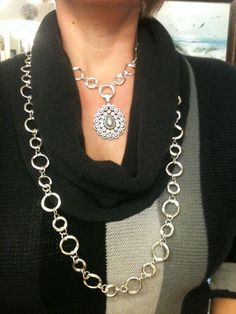 Pearly Drops Pendant/Enhancer on New Style necklace.   Premier Designs Jewelry Carolyn Popp
