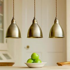 Barbican Pendant Light in Antiqued Brass - All For Decoration Brass Pendant Light, Kitchen Pendant Lighting, Kitchen Pendants, Mini Pendant Lights, Light Fittings, Light Fixtures, Ceiling Rose, Ceiling Lights, Room Lights