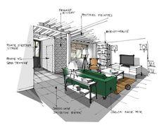 croquis architecture intérieure -salon et canapé vert - Dominique JEAN Croquis Architecture, Architecture Design Concept, Architecture Plan, Interior Architecture, Drawing Interior, Interior Design Sketches, Interior Rendering, Sketch Design, Layout