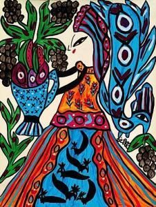 Various pieces of art by the late self-taught Algerian artist Baya Mahieddine (1931-1998).