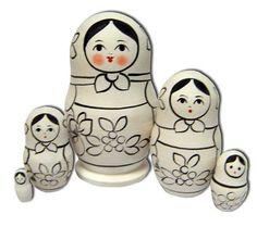 Russian Folk Art Coloring Pencils Set of 18 Colors Nesting Dolls on Box