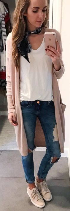 flawless spring outfits /  Light Pink Maxi Cardigan / White Top / Ripped Skinny Jeans / Light Pink Sneakers