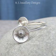 Sterling Silver Earrings  RUSTIC FLOWER DISCS (6 Petals) by KSJewelleryDesigns, $30.00