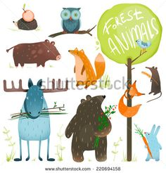 Cartoon Forest Animals Set. Brightly colored childish animals. Vector illustration EPS8. - stock vector