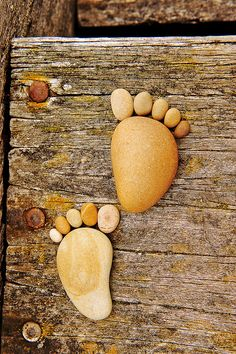 Footprint stone pebbles