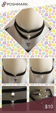 2pics black velvet statement chokers Beautiful 2 pics pearl and silver triangle pendant statement chokers adjustable size you can wear single or double them NWT Jewelry Necklaces
