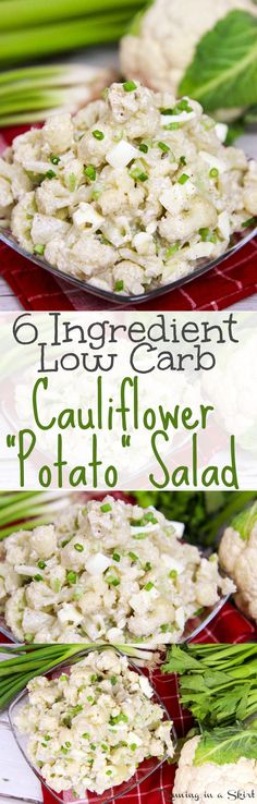 Also low calorie. The best tasty, easy mock potato salad using greek yogurt (no mayo!) A simple and nutritious twist on the classic comfort foods. / Running in a Skirt paleo lunch cold Low Carb Potatoes, Cauliflower Potatoes, Cauliflower Recipes, Low Carb Side Dishes, Healthy Side Dishes, Side Dish Recipes, Healthy Sides, Salad Recipes Low Carb, Vegetarian Recipes