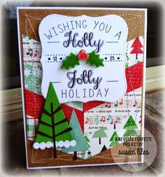 Card by Susan Liles. Reverse Confetti stamp set: North Pole Wishes. Confetti Cuts: North Pole Wishes, Branch Out, and Triple Chevies. Christmas card.