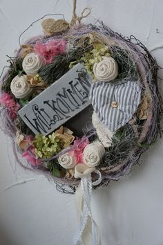 "Kränze - reserviert f. Sabrina "" Träumerei ..."" - ein Designerstück von Hoimeliges bei DaWanda Christmas Advent Wreath, Etsy Christmas, Christmas Decorations, Wreath Crafts, Grapevine Wreath, Easter Wreaths, Mesh Wreaths, Summer Wreath, How To Make Wreaths"