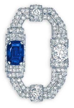 Art Deco Sapphire & Diamond Brooch by Cartier