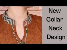 Collar Kurti Front Neck Design With V Placket || Collar Neck Design || Easy Cutting and Stitching - YouTube Salwar Neck Designs, Neck Designs For Suits, Neckline Designs, Dress Neck Designs, Kurta Designs Women, Designs For Dresses, Blouse Designs, Collar Kurti Design, Kurta Neck Design