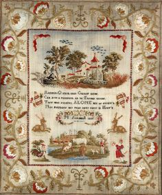 Sampler ~ M. Aspinwall ~1833 ~ A William IV needlework sampler ~ Stitched with the verse 'Reflect - O learn, that Charity alone,/Can give a passport to th'Eternal throne,/They who forgive, ALONE will be forgiv'n,/Nor prejudice nor pride have place in Heav'n' and 'M. Aspinwall 1833'