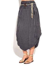 This Blue Stripe Bubble Linen Maxi Skirt - Women is perfect! #zulilyfinds