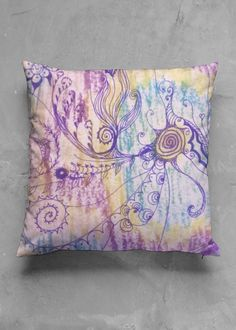 Accent Pillow - Matte Square - Love Mandala in Rainbow by VIDA Original Artist Accent Pillows, Throw Pillows, Vida Design, Original Artwork, Organic Cotton, Pillow Covers, Mandala, Rainbow, The Originals
