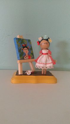 OMG! How cute is this???   Frida Kahlo Clothespin Doll  MADE TO ORDER by LittleBun on Etsy, $40.00