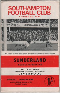 Vintage Football (soccer) Programme - Southampton v Sunderland, 1969/70 season, by DakotabooVintage