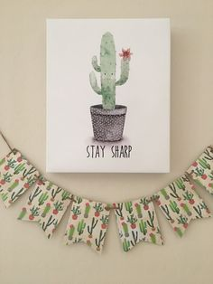 Cardstock Cactus Banner. Cactus Theme.Baby Shower. Cacti Banner. Green. Fiesta Party. Cactus Garland. Cacti Bunting Banner by UrbanBarnn on Etsy