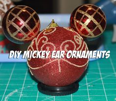 Tutorial on how to make some great Mickey Ear Ornaments on a dime. All ornament pieces were purchased at the Dollar Tree Mickey Christmas, Christmas Crafts For Kids, Winter Christmas, Christmas Bulbs, Mickey Mouse Ornaments, Mickey Ears, Disney Crafts, Disney Fun, Ornament Tutorial