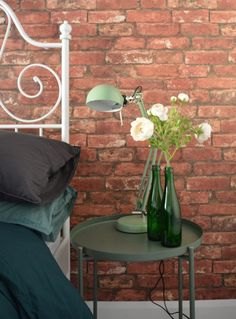 After master bedroom brick wallpaper green flower ikea GLADOM tray table dark green FORSA work lamp green