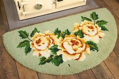 Hearth rug with roses