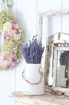 June Stocking has the most beautiful shabby chic blog full of roses, lavender, flowers, vintage mirrors, chic finds and gorgeous living room decor ideas. I love this house so much! The shabby home decor ideas are perfect.