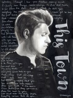"Niall Horan original watercolor portrait with lyrics of ""This Town"""