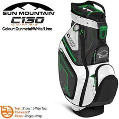 Golf Club Bags 30109: New Sun Mountain C-130 Cart Golf Bag New Color Gunmetal - White - Lime -> BUY IT NOW ONLY: $229 on eBay!