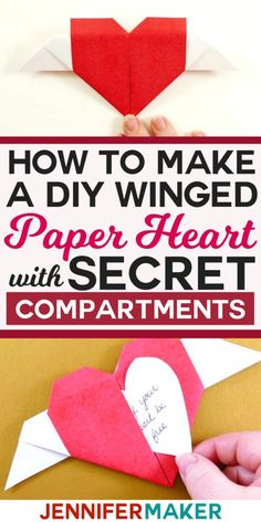 Learn how to fold a DIY paper winged heart (origami heart with wings) that has two secret compartments for hidden notes. Easy, step-by-step photo tutorial. Good Tutorials, Craft Tutorials, Origami Heart With Wings, Heart Origami, Paper Hearts Origami, Oragami, Origami Flowers, Origami Paper, Paper Gifts