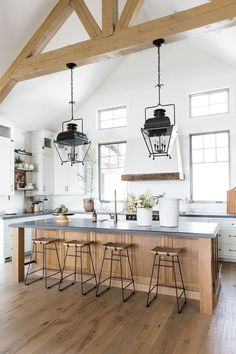 Supreme Kitchen Remodeling Choosing Your New Kitchen Countertops Ideas. Mind Blowing Kitchen Remodeling Choosing Your New Kitchen Countertops Ideas. Home Decor Kitchen, New Kitchen, Kitchen Interior, Kitchen Dining, Kitchen Ideas, Wood Kitchen Island, Decorating Kitchen, Awesome Kitchen, Kitchen Islands