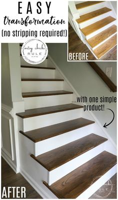 Stairs with Gel Stain (so simple!) - Update Stairs with Gel Stain (SO EASY…believe it!) -Update Stairs with Gel Stain (so simple!) - Update Stairs with Gel Stain (SO EASY…believe it! Staining Stairs, Minwax Gel Stain, Stair Renovation, Karate Kid, Staircase Makeover, Stair Storage, Lp Storage, Record Storage, Easy