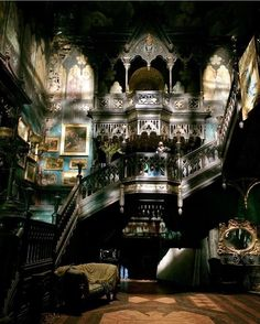 Need decorating ideas? Browse through beautiful dark, Gothic, steampunk, and Victorian style living rooms. Gothic House, Victorian Gothic, Victorian Homes, Gothic Interior, Crimson Peak, Slytherin Aesthetic, Gothic Architecture, Haunted Mansion, Abandoned Places