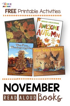 FALL READ ALOUD books for your kindergarten and first grade classroom - FREE printables and activities to go with these adorable stories - all about fall - bear says thanks - awesome autumn - Thanksgiving read aloud stories - leaf man with leaf activities Autumn Activities, Reading Activities, Kindergarten Activities, Reading Resources, Teacher Resources, Kindergarten Freebies, Kindergarten Reading, Kindergarten Thanksgiving, Kindergarten Classroom