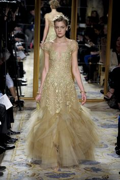 Fall 2012 Nude Colour Sheer Tulle And Chiffon Gown With Short Sleeves And Golden Embroidery