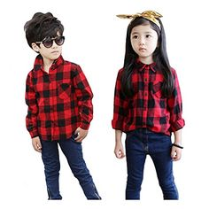 Plaid Long Sleeve Baby Boys  Girls RedBlack Child Button Down Checked Shirt 100 >>> Click image for more details.(This is an Amazon affiliate link)