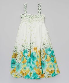 Look at this #zulilyfind! Wenchoice White & Green Floral Shirred Dress - Infant, Toddler & Girls by Wenchoice #zulilyfinds