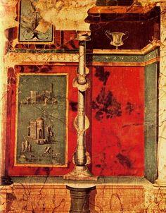 """***Frescos pompeyanos conservados en el Museo Arqueológico Nacional, tercer estilo o """"estilo mixto u ornamental""""."""