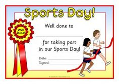 Sack Race Sports Day Certificates (SB4662) - SparkleBox Sports Day Certificates, Award Certificates, Certificate Format, Certificate Design Template, Sack Race, Sports Awards, Best Templates, Sports Pictures, Do Your Best